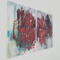 Malerei, Blau, Surreal, Rot schwarz