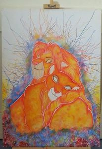 Fantasie, Fanart, Löwe, Aquarellmalerei