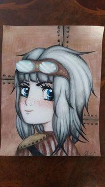 Manga, Steampunk, Mädchen, Zeichnung