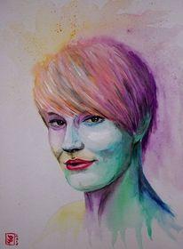 Frau, Bunt, Portrait, Aquarell