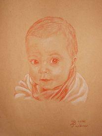 Portrait, Kind, Rötel, Zeichnungen