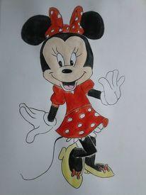 Aquarellmalerei, Zeichnung, Mini mouse, Aquarell