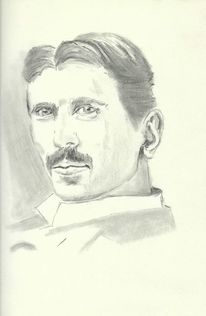 Skizze, Tesla, Gesicht, Zeichnung