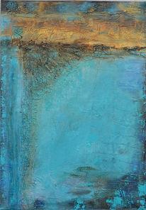 Türkis, Abstrakt, Gold, Acrylmalerei