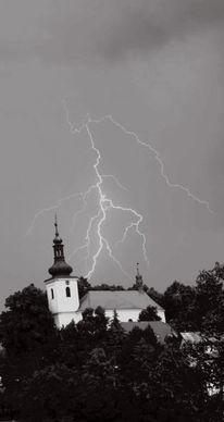 Blitz, Wolken, Gewitter, Kirche