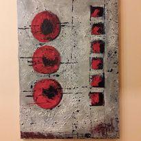 Spachteltechnik, Rot, Abstrakte kunst, Abstrakte malerei