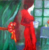 Frau, Grün, Abstrakt, Fenster tisch
