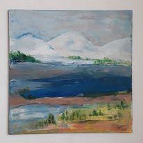 Acrylmalerei, Landschaft, Wasser, Berge