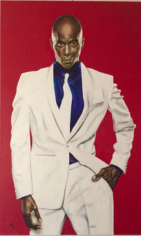 Mann, Portrait, Rot, Malerei