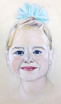 Mädchen, Lächeln, Kind, Malerei