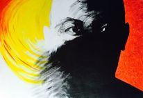 Mann, Rot, Augen, Malerei