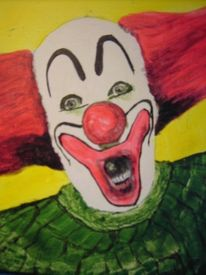 Malerei, Portrait, Mens, Clown