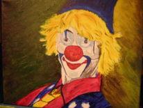 Vrolijke clown, Clown, Geel haar, Malerei