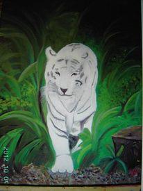 Tijger, Siberische witte tijger, Malerei, Natur
