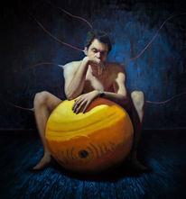 Realismus, Akt, Mann, Ölmalerei