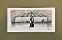 Zeichnung, Frau, Feder, Regen