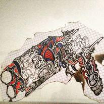 Abstrakt, Surreal, Rot schwarz, Blau