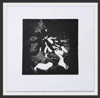Druckgrafik, Abstrakt, Schwarz, Radierung