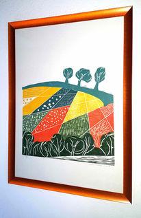Holzschnitt, Baum, Farbholzschnitt, Grün