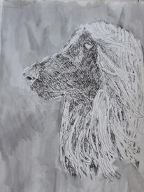 Portrait, Zeichnung, Hund, Marker
