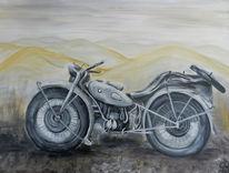 Motorrad, Ural mit beiwagen, In landschaft, Malerei