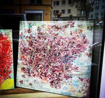 Pastellmalerei, Pink, Türkis, Acrylmalerei