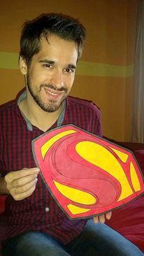 Aufnahme, Zeichen, Superman, Zeichnungen auf pappe