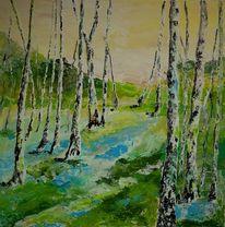 Birken, Blau, Wald, Gelb