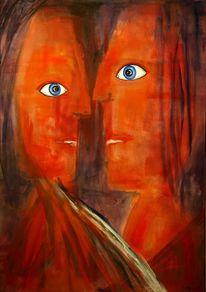 Abstrakt, Rot, Orange, Malerei