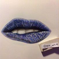 Zeichnung, Lippen, Menschen, Blau