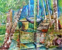 Wald, Stein, Blau, Surrealistisch