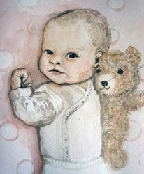 Baby, Menschen, Portrait, Aquarellmalerei