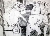 Zeichnung, Figurativ, Gesellschaftskritik, Expressionismus