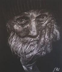 Ausdruck, Alter mann, Portrait, Zeichnung