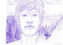Menschen, Kugelschreiber, Wolken, Blau