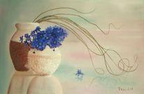Weiß, Vase, Blau, Blumen