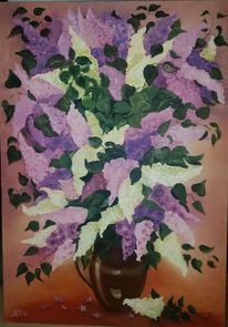 Pflanzen, Violett, Ölmalerei, Weiß