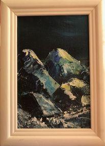 Weiß, Winter, Malerei, Berge