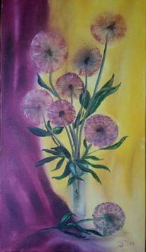 Gelb, Blumen, Ölmalerei, Lila
