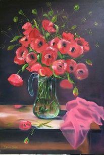 Tuch, Mohnblumen, Rot, Vase