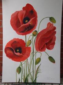 Ölmalerei, Blumen, Rot, Weiß
