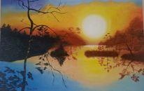 Wald, Sonnenuntergang, Moor, Malerei