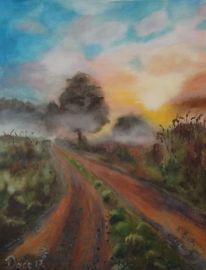 Baum, Himmel, Weg, Malerei