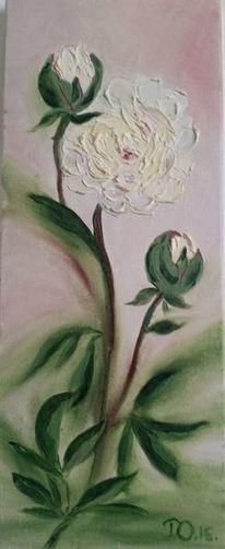 Weiß, Blumen, Ölmalerei, Malerei