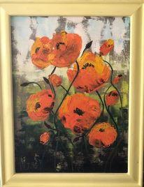 Blumen, Ölmalerei, Gelb, Grün