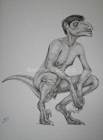 Menschen, Dinosaurier, Fabelwesen, Zeichnungen