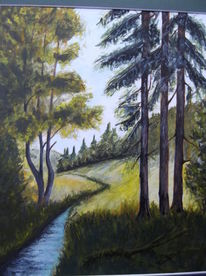 Wald, Baum, Fluss, Malerei