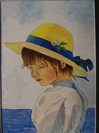 Portrait, Meer, Kind, Aquarell
