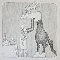 Regenwürmer, Schnecke, Spatz, Zeichnungen