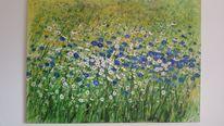 Artgallery, Blüte, Acrylpainting, Kornblumen